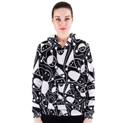 Playful abstract art - Black and white Women s Zipper Hoodie
