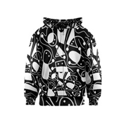 Playful abstract art - Black and white Kids  Zipper Hoodie