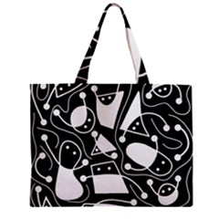 Playful abstract art - Black and white Zipper Mini Tote Bag