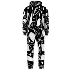 Playful abstract art - Black and white Hooded Jumpsuit (Men)