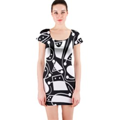 Playful abstract art - Black and white Short Sleeve Bodycon Dress
