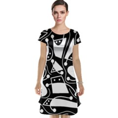 Playful abstract art - Black and white Cap Sleeve Nightdress