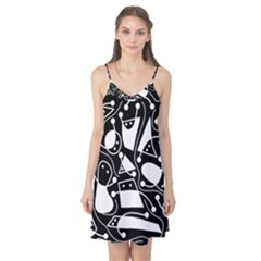 Playful abstract art - Black and white Camis Nightgown