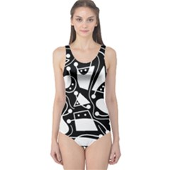 Playful abstract art - Black and white One Piece Swimsuit