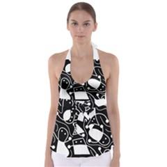 Playful abstract art - Black and white Babydoll Tankini Top