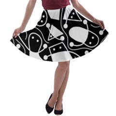 Playful abstract art - Black and white A-line Skater Skirt