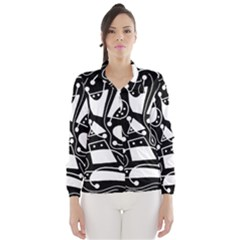 Playful abstract art - Black and white Wind Breaker (Women)