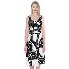 Playful abstract art - Black and white Midi Sleeveless Dress