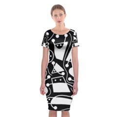 Playful Abstract Art   Black And White Classic Short Sleeve Midi Dress
