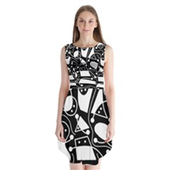 Playful Abstract Art   Black And White Sleeveless Chiffon Dress