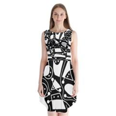 Playful abstract art - Black and white Sleeveless Chiffon Dress