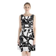 Playful Abstract Art   Black And White Sleeveless Chiffon Waist Tie Dress