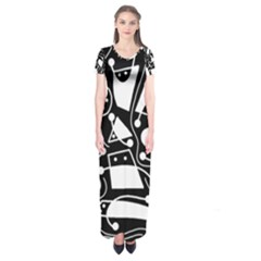 Playful abstract art - Black and white Short Sleeve Maxi Dress