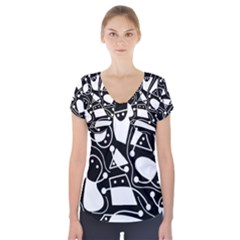 Playful abstract art - Black and white Short Sleeve Front Detail Top