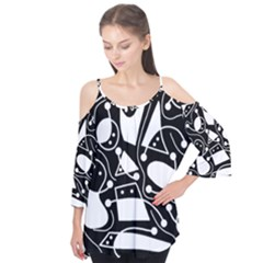 Playful abstract art - Black and white Flutter Tees