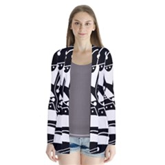 Playful abstract art - Black and white Drape Collar Cardigan