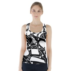 Playful abstract art - Black and white Racer Back Sports Top