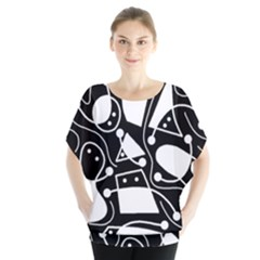Playful abstract art - Black and white Blouse