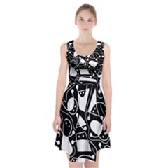 Playful abstract art - Black and white Racerback Midi Dress
