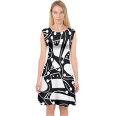 Playful Abstract Art   Black And White Capsleeve Midi Dress