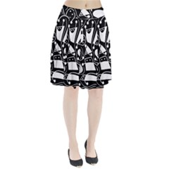 Playful abstract art - Black and white Pleated Skirt