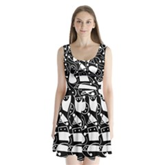 Playful abstract art - Black and white Split Back Mini Dress