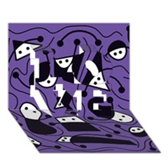 Playful Abstract Art   Purple Love 3d Greeting Card (7x5)