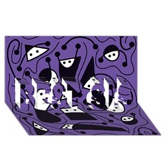 Playful abstract art - purple BEST SIS 3D Greeting Card (8x4)