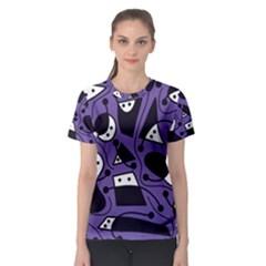 Playful abstract art - purple Women s Sport Mesh Tee
