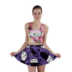 Playful abstract art - purple Mini Skirt