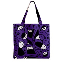 Playful abstract art - purple Zipper Grocery Tote Bag