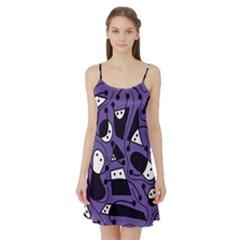 Playful abstract art - purple Satin Night Slip