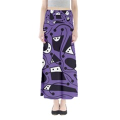 Playful Abstract Art   Purple Maxi Skirts