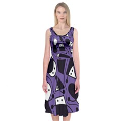 Playful Abstract Art   Purple Midi Sleeveless Dress