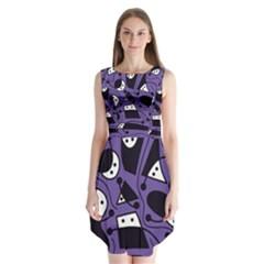 Playful abstract art - purple Sleeveless Chiffon Dress