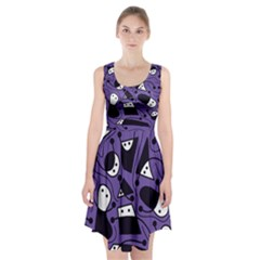 Playful Abstract Art   Purple Racerback Midi Dress