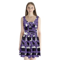 Playful abstract art - purple Split Back Mini Dress