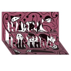 Playful Abstraction Happy Birthday 3d Greeting Card (8x4)