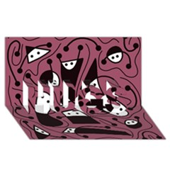 Playful abstraction HUGS 3D Greeting Card (8x4)
