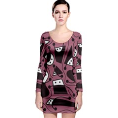 Playful abstraction Long Sleeve Bodycon Dress