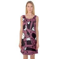 Playful abstraction Sleeveless Satin Nightdress