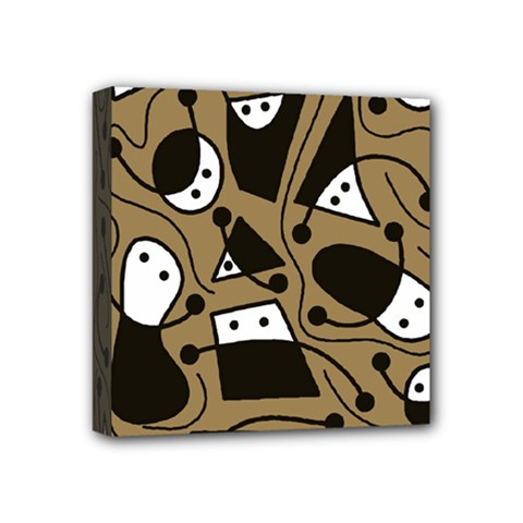 Playful abstract art - Brown Mini Canvas 4  x 4