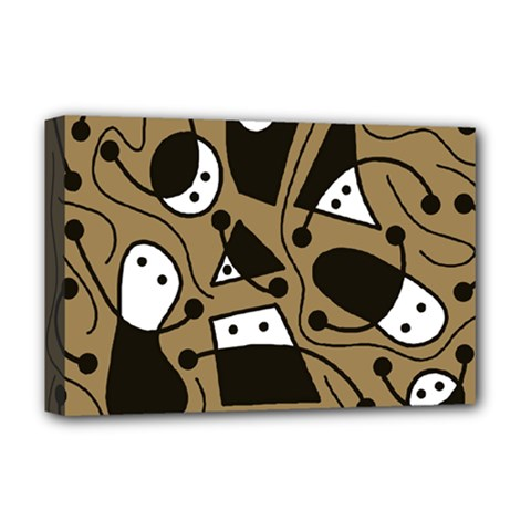 Playful abstract art - Brown Deluxe Canvas 18  x 12