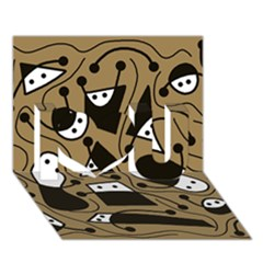Playful abstract art - Brown I Love You 3D Greeting Card (7x5)