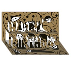 Playful abstract art - Brown Happy Birthday 3D Greeting Card (8x4)