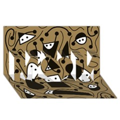 Playful abstract art - Brown MOM 3D Greeting Card (8x4)