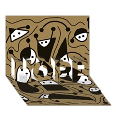 Playful abstract art - Brown HOPE 3D Greeting Card (7x5)