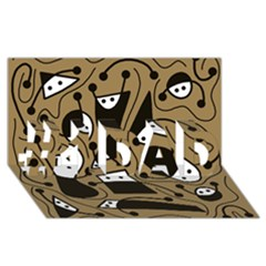 Playful abstract art - Brown #1 DAD 3D Greeting Card (8x4)
