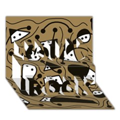 Playful abstract art - Brown You Rock 3D Greeting Card (7x5)