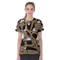Playful abstract art - Brown Women s Cotton Tee